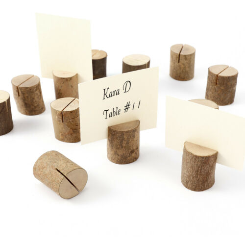 Natural Wood Wedding Party Card Holder Place Note Photo Table Name Number Show