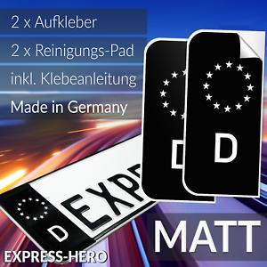 2x-Kennzeichen-Aufkleber-Schwarz-Nummernschild-EU-Feld-Blau-D-Sticker-Set-MATT