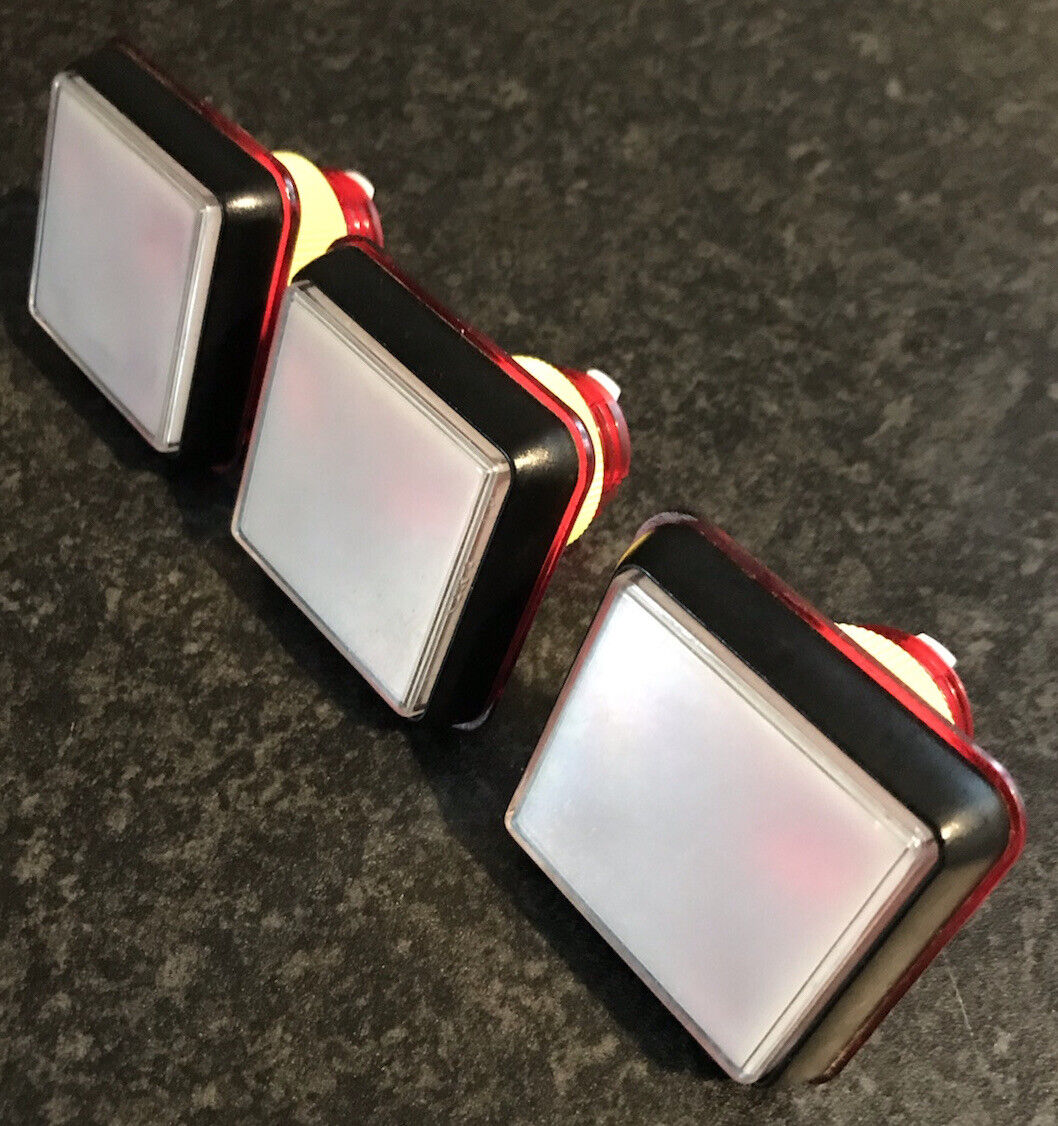 Fruit Machine Square Buttons RED & BLACK X3 Gamesman
