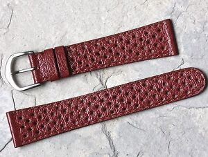 Chestnut-brown-perforated-20mm-vintage-watch-rally-band-NOS-1960s-24-sold-here