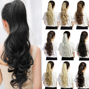 Synthetic-Claw-Clip-Ponytail-Extension-Long-Wavy-Pony-Tail-Hair-Piece-For-Ladies