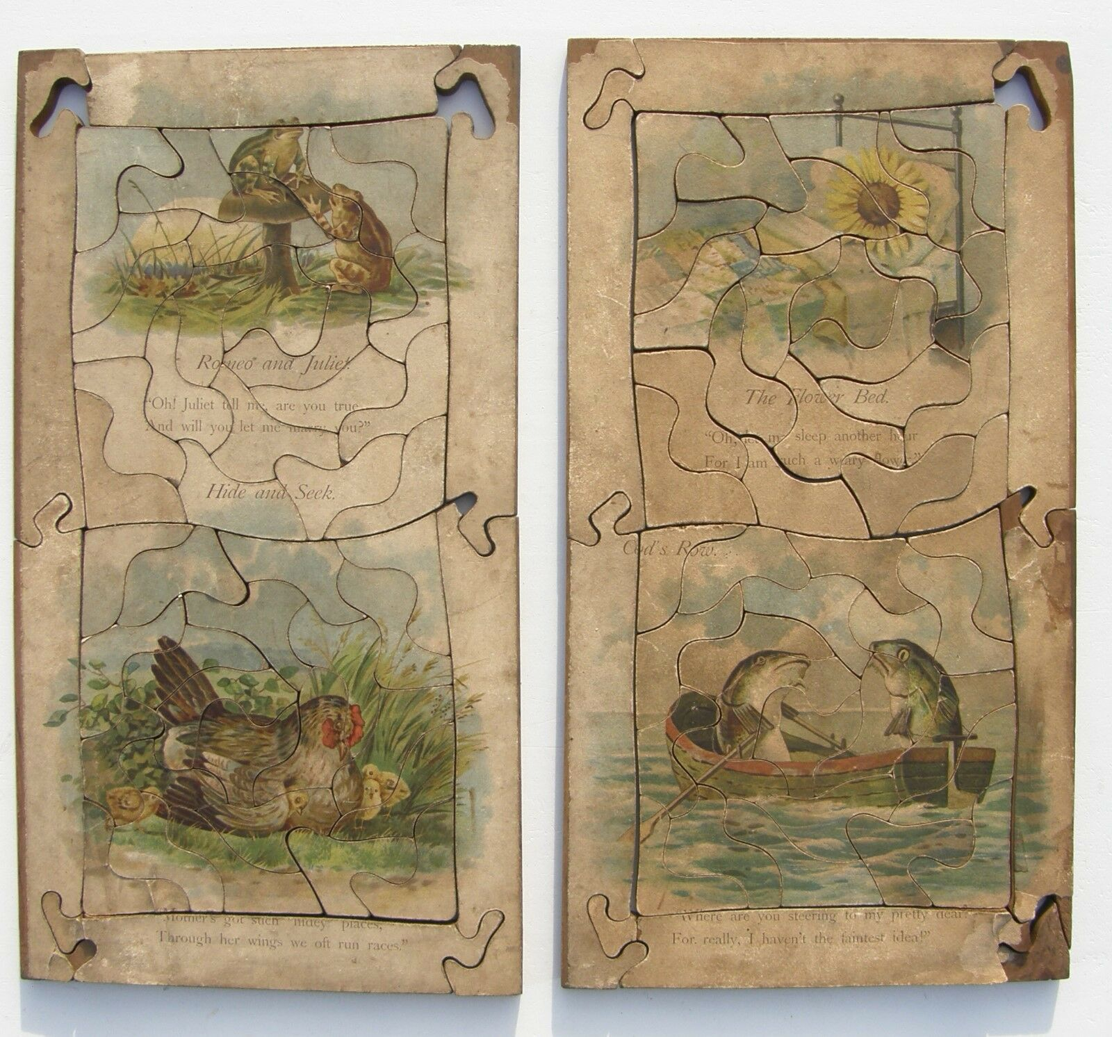 Very unusual pair of DOUBLE SIDED wooden jigsaw puzzles - VINTAGE