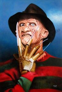 Freddy-Krueger-Nightmare-On-Elm-Street-Original-Poster-Oil-Painting-on-Canvas