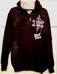 Mens Hoodie Black Phat Farm Thermal Gray Lined Hood Full Zipper Pockets Nwt M Ebay