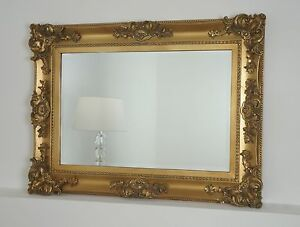 georgina gold ornate rectangle antique wall mirror 40 x 30 x large ebay. Black Bedroom Furniture Sets. Home Design Ideas