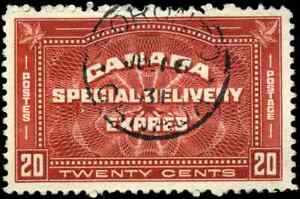 Canada-E4-used-VF-1930-Special-Delivery-20c-henna-brown-SON-CDS-CV-25-00