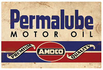AMOCO PERMALUBE MOTOR OIL  RUSTIC  TIN SIGN  20 x 30 cm