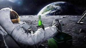 Astronaut-Beer-On-Moon-Earth-POSTER-FRAMED-ON-CANVAS-amp-MOUNTED