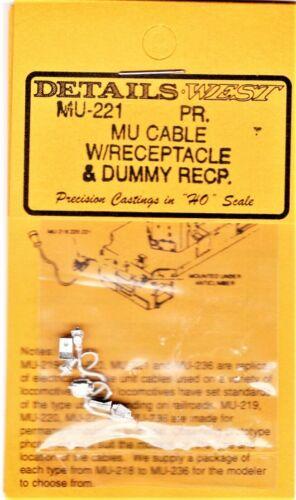 2 HO Scale Details West MU-221 MU Cables Dummy Receptacle pkg