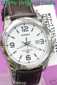 55057cfabb96 MTP-1314L-7A White Casio Genuine Leather Band Watch 50M Date Analog ...