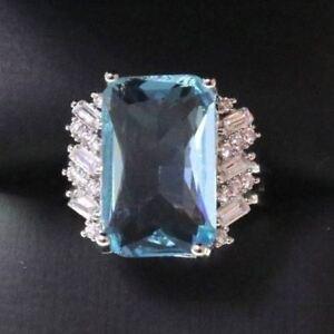 Sparkling-Radiant-Blue-Aquamarine-Ring-Women-Jewelry-14K-Gold-Plated-Nickel-Free