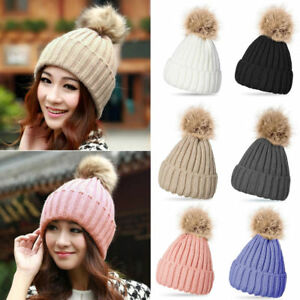Winter-Warm-Ladies-Fur-Knitted-Ski-Pom-Bobble-Baggy-Crochet-Beanie-Caps-Hats