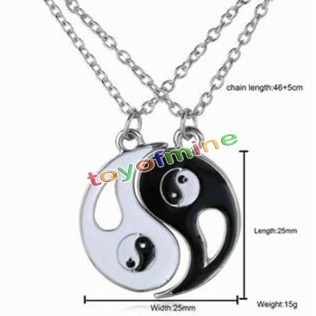 New Ying and Yang Yin BEST FRIENDS Rhinestones Pendant 2 PCS Necklace