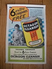 1930s era OCTAGON Cleanser Advertising Coupon - Original