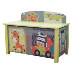 WOODEN-TOY-BOX-KIDS-JUNGLE-ANIMAL-THEME-CHILDRENS-FUNKY-BEDROOM-FURNITURE-Zoo