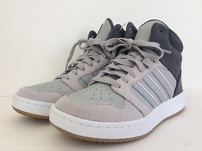 outlet store 3cf10 e440e New adidas Neo Women s Sz 7 Cloudfoam Superhoops Mid Sneakers Shoes Grey  Pink 7