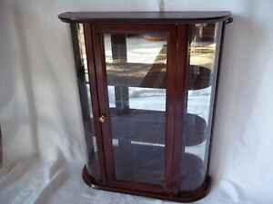 Bombay Company Curved Glass Curio Cabinet Vintage 3 Shelf