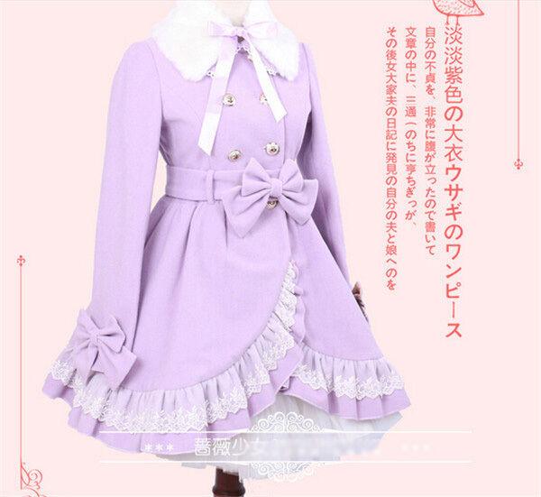 Ladies Victorian Lolita Gothic Palace Winter Warm Purple Falbala Princess Coat