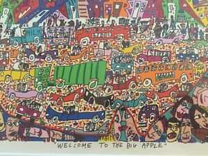 James-Rizzi-original-Farblithografie-034-WELCOME-TO-THE-BIG-APPLE-034-1990-gerahmt