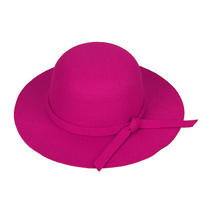 Warm Children Kids Girls Wide Brim Felt Bowknot Bowler Floppy Cloche Hat Sun Cap