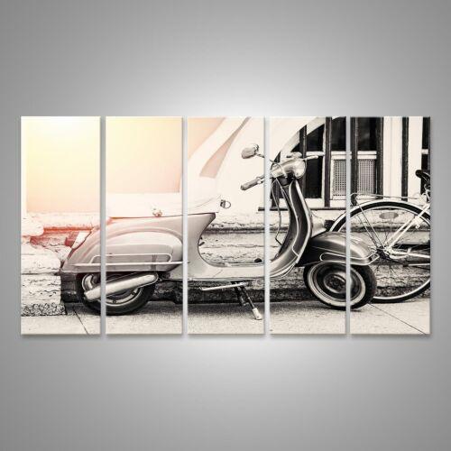 Vintage Filte DVE-5P Bild auf Leinwand Vespa Motorrad auf der Straße geparkt