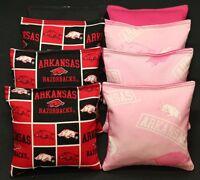 8 Cornhole Beanbags Made W University Of Arkansas Razorbacks Pink Fabric