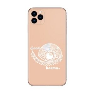 Coque Iphone 12 PRO MAX karma good vibes blanc personnalisee