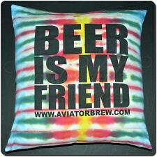 """Beer Is My Friend Pillow, Aviator Brewing Company T-Shirt Upcycle, W/ Insert 18"""""""