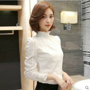 ee173ee2da0056 Image is loading Women-Lace-Ruffle-Collar-Shirt-Pleated-Frill-Sleeve-