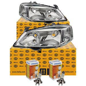 Hella-Scheinwerfer-Set-Opel-Astra-G-Bj-98-09-inkl-Philips-H7-HB3-elektr-LWR