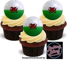 12 Novità EURO 2016 Galles Gallese di calcio commestibili Cupcake Cake Topper Decorazione