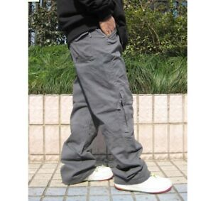 Mens Loose Cotton Blend Baggy Cargo Carpenter Trousers Overalls Hip Hop Pants