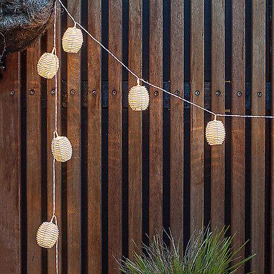 10 Wicker Rattan Lantern Solar Powered Garden Party LED Fairy String Lights