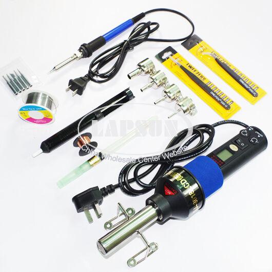 8018 110V AC Adjustable Heat Hot Air Gun Station + 60W Soldering Iron Kit 933 US