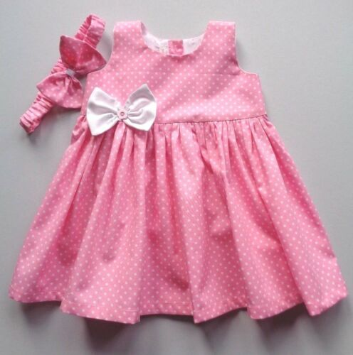 Baby Girl Dress Headband Pink polka dot spot Dispatch next day