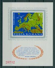 Rumanía 1975 mié. bloque 125 ** CEPT, CSCE, Helsinki, cita ceausescu, mapa
