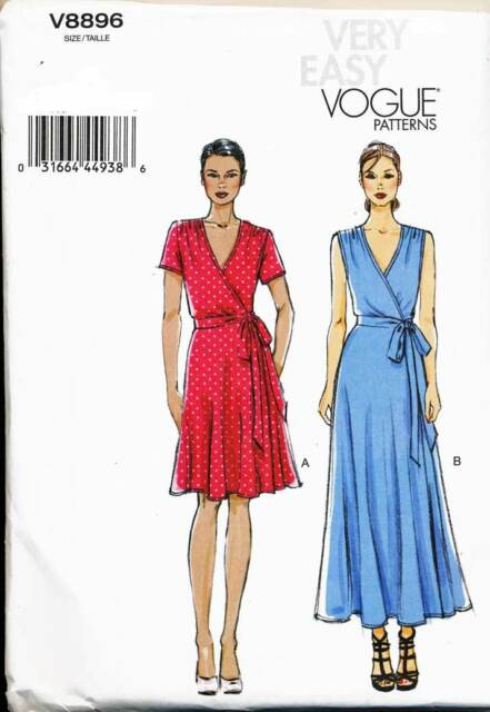 VOGUE SEWING PATTERN 8896 MISSES SZ 16-24 FIT & FLARE WRAP DRESS - PLUS SIZES