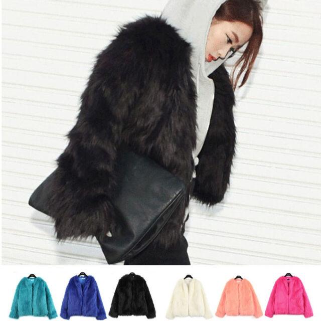 New Sexy Women Warm Winter Shaggy Faux Fur Trench Parka Coat Jacket Slim Outwear