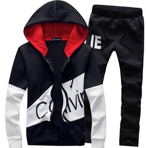 Black-Men-Sweater-Casual-Tracksuit-Sport-Suit-Jogging-Athletic-Jacket-Pants