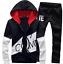 Black-Men-Sweater-Casual-Tracksuit-Sport-Suit-Jogging-Athletic-Jacket-Pants thumbnail 1