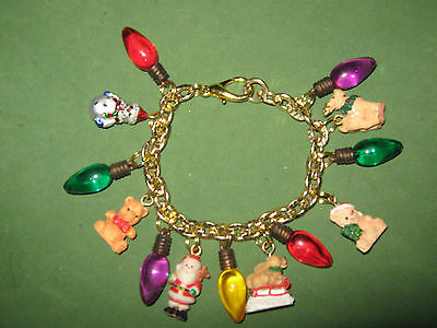 """CHRISTMAS LIGHTS""- HAND CRAFTED   CHARM BRACELET"