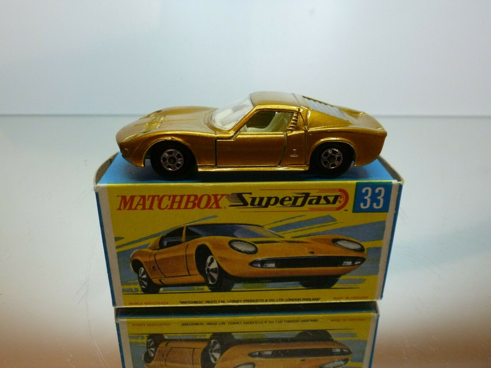 MATCHBOX SUPERFAST 33 LAMBORGHINI MIURA P400 - or METALLIC - VERY GOOD IN BOX