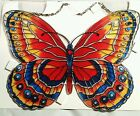 joan baker stained glass,  ORANGE AND BLUE BUTTERFLY sun catcher 9x8 with holes