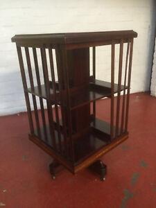 Antique Furniture Antique Mahogany Inlaid Revolving Bookcase Antiques