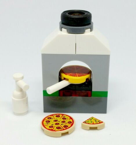 LEGO City Minifigure Fast Food 3 Types Of Pizza With Mayo /& Oven Diner Cafe