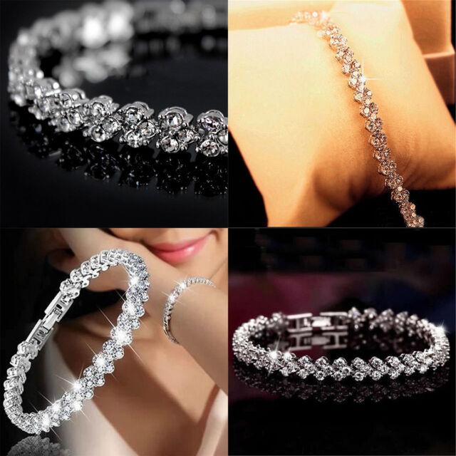 Rhinestone Sliver Tennis Heart Bracelet Made with Swarovski Crystal Party Prom