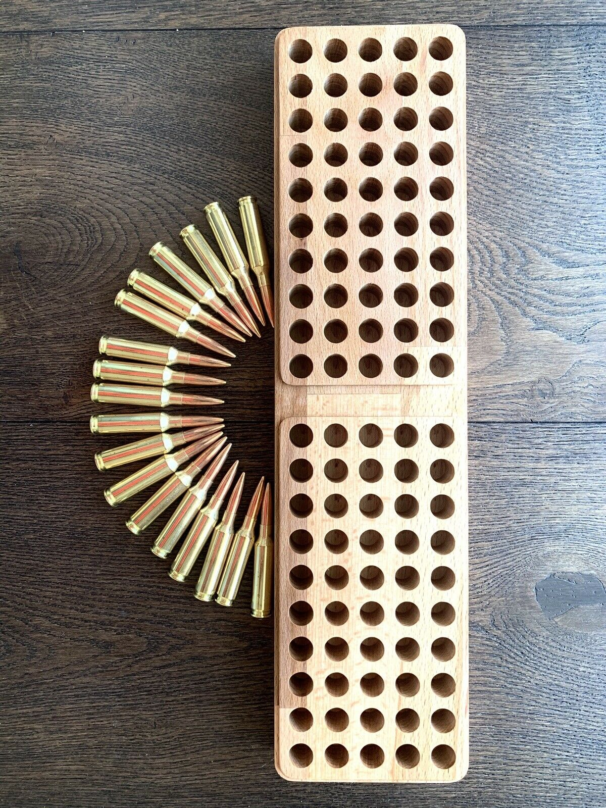100 Bullets Reloading Tray.Solid Wood.CNC Craft Various Caliber.390mm x 100mm