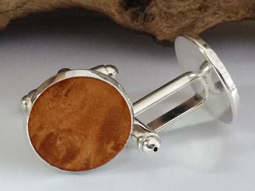 Manschettenknöpfe mit Klappmechanik und MABLE MASER Echtholzeinlagen Ø 17,8 mm