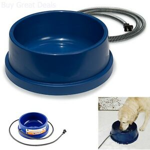Image is loading Thermal-Electric-Pet-Water-Bowl-Dog-Cat-Dish- Thermal Electric Pet Water Bowl Dog Cat Dish Waterer Outdoor Heat
