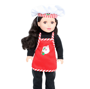 """Christmas Apron with Chef Hat made for 18/"""" American Girl Doll Clothes"""